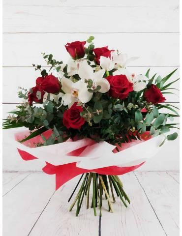 Ramo Rosas Rojas & Orquídea Blanca