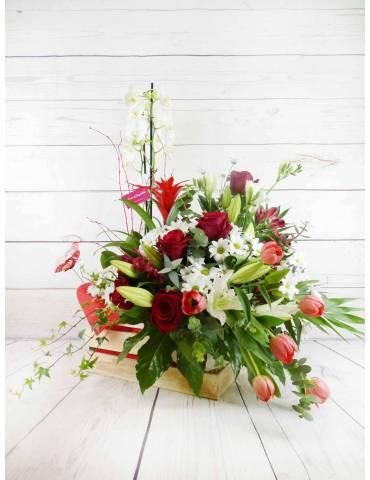 caja de madera con flores y plantas