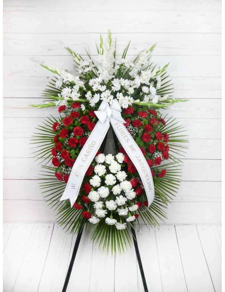 corona de flores funeral con claveles rojos y blancos