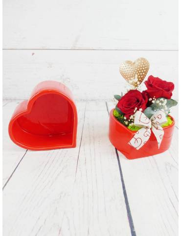 Cerámica Corazón Horizontal Rosas Preservadas