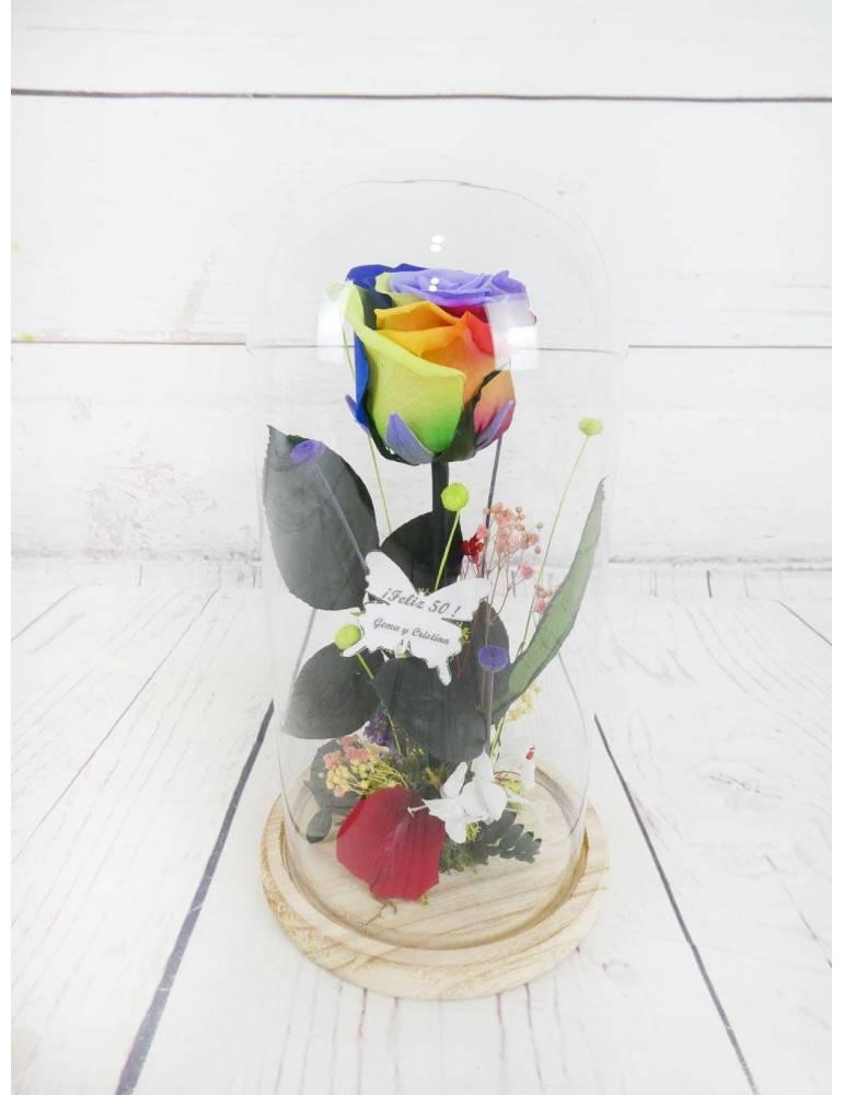 Rosa Preservada Arcoiris Personalizada