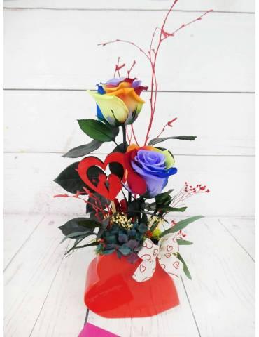 Rosas Preservadas Arcoiris Multicolor