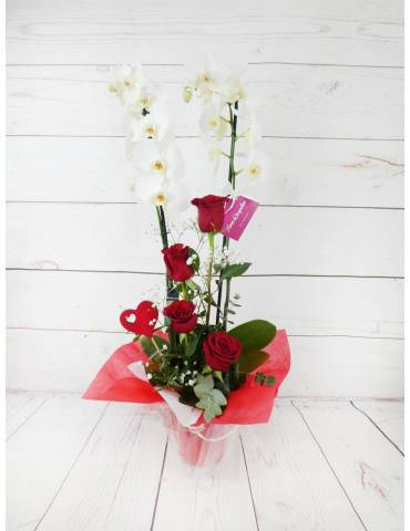 orchidea blanca 2 tallos 70cm y rosas rojas