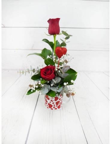 Taza Rosas Rojas & Bombones...