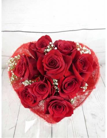 ramo 9 rosas rojas corazon