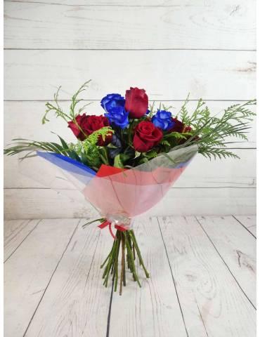 Ramo 15 Rosas Rojas y Azules