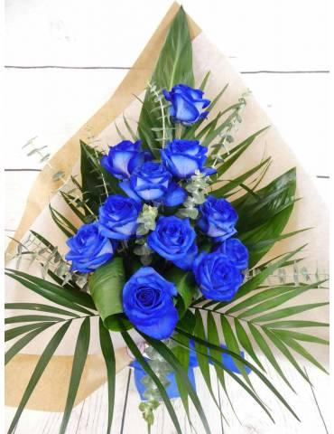 ramo rosas azules una cara