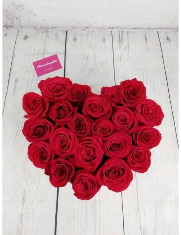 Rosas Rojas en Caja Corazón...